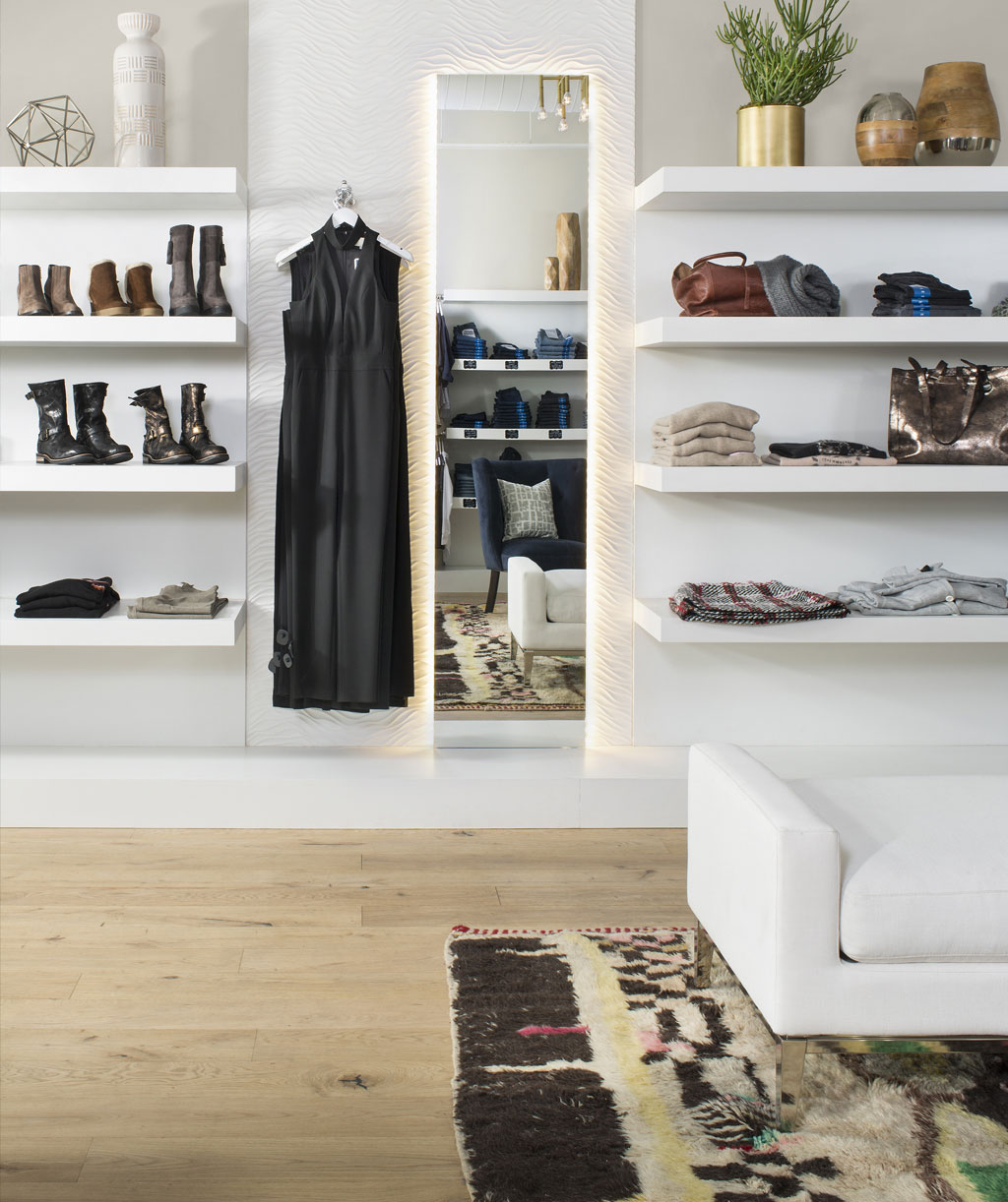 homes archive ajp realty design the 1425 square foot store complements it s contemporary women s clothing and accessories with a clean feminine fun design